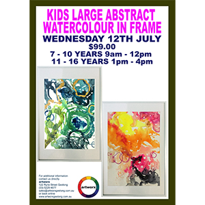 School Holiday Large Framed Abstract Watercolour Workshop