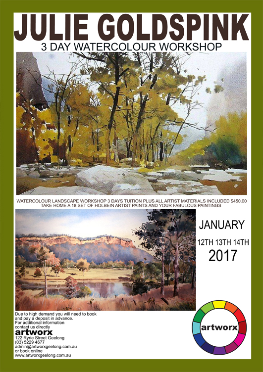 3 Day Watercolour Workshop 12th 13th & 14th January 2017 in the Artworx Studio