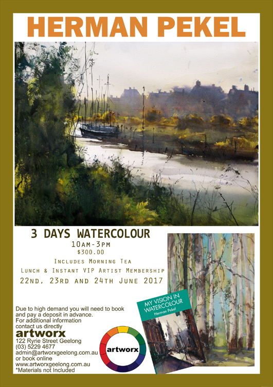 3 Day Watercolour Workshop with artist Herman Pekel 22nd 23rd & 24th of June 2017