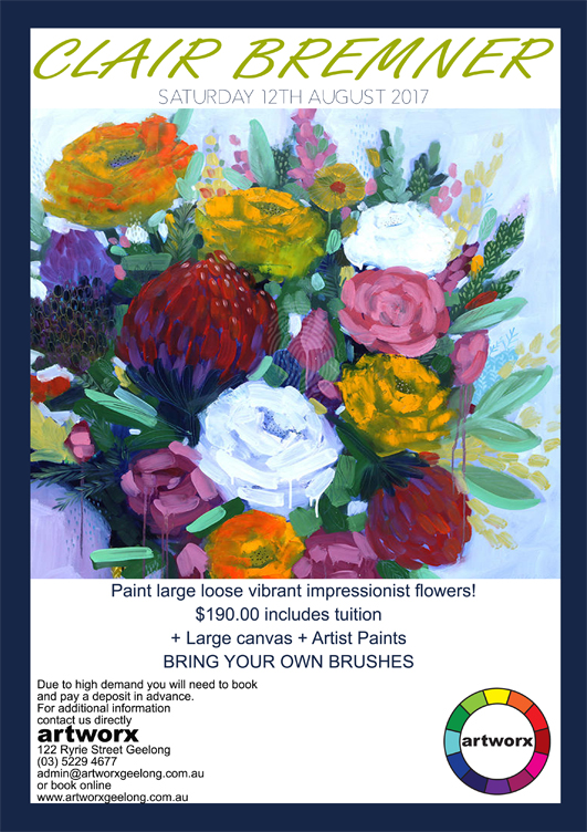 Painting Class Acrylics 12th August 2017 with artist Clair Bremner