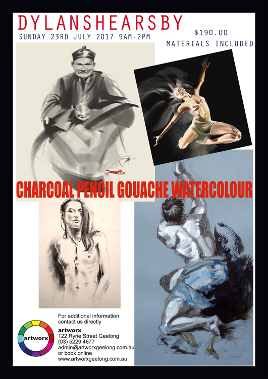 Charcoal Drawing Gouache & Watercolour Painting Sunday 23rd July 2017 9am to 3pm