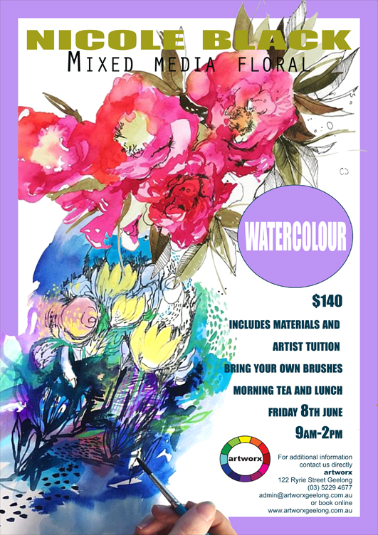 Mixed Media Watercolour Floral Workshop Friday 8th June 2018