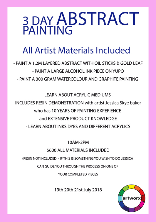 3 Day Abstract Painting Workshop with artist Jessica Skye Baker