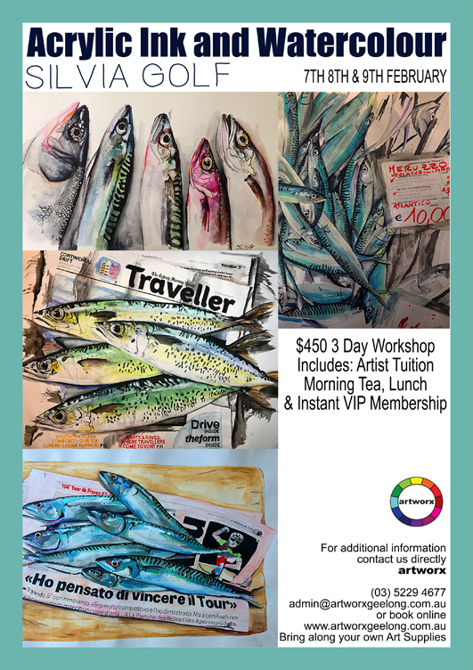 3 Day Acrylic Ink and Watercolour Workshop