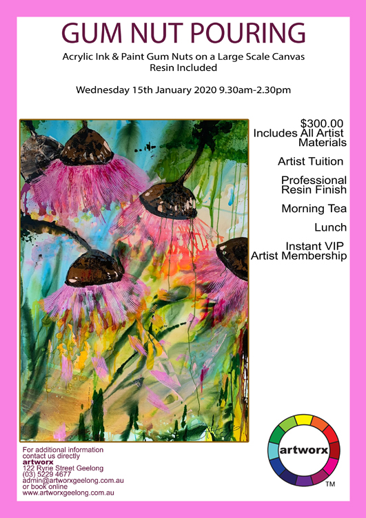 Wednesday 15th January 2020 Abstract Gum Nut Pouring Workshop