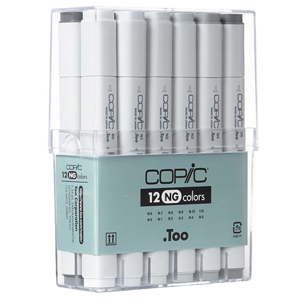 12pc Copic Marker Neutral Grey