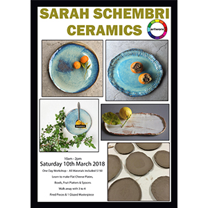 Ceramic Class Saturday 10th March 2018 with artist Sarah Schembri - All Artist Materials Included