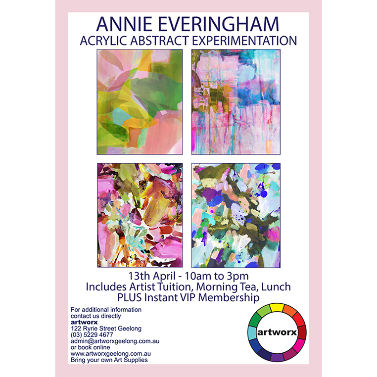 Abstract Acrylic Experimentation with artist Annie Everingham 13th April 2018