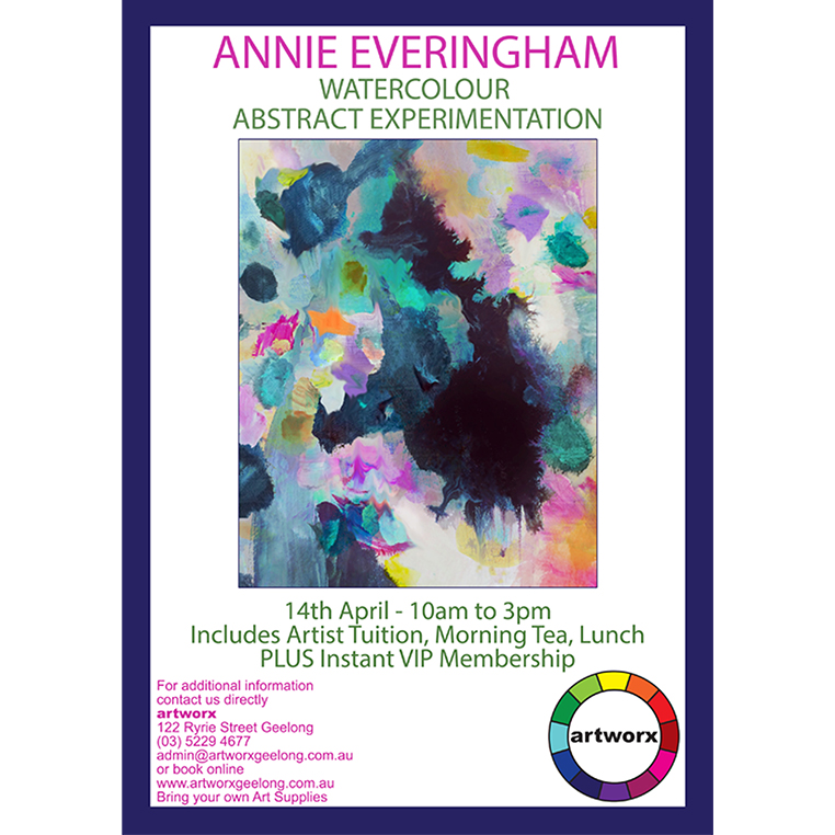 Abstract Watercolour Experimentation with artist Annie Everingham 14th April 2018