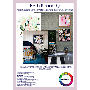 Friday 15th November 2019 Pencil Gouache Acrylic Watercolour Workshop with artist Beth Kennedy