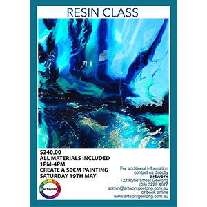 1-4pm Saturday 19th May Resin Workshop - All Materials Included with artist Jessica Skye Baker