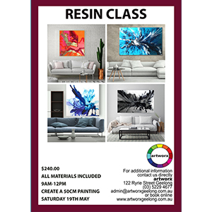 9-12 noon Saturday 19th May Resin Workshop - All Materials Included with artist Jessica Skye Baker
