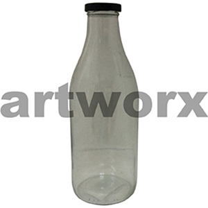1 Litre Milk/Sauce Bottle with Black Cap