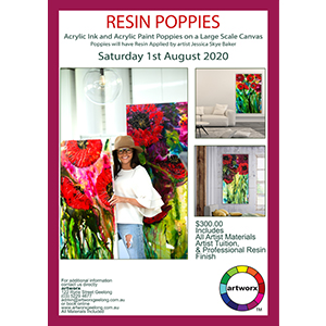 1st August Saturday 2020 Acrylic & Resin Red Poppies - All Materials Included
