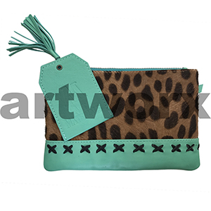 AMA Leather Pencil Case Half Hide Style Crossed Turquoise Serval