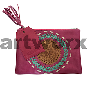 AMA Leather Pencil Case Woven Mandala Tourmaline Pink