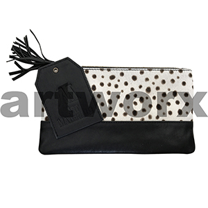 AMA Leather Pencil Case Half Hide Style Cheetah Black