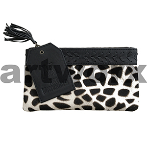 AMA Leather Pencil Case Half Hide Style Mosaic Black with Plait