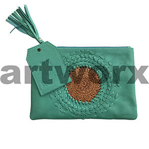 AMA Leather Pencil Case Woven Mandala Jade