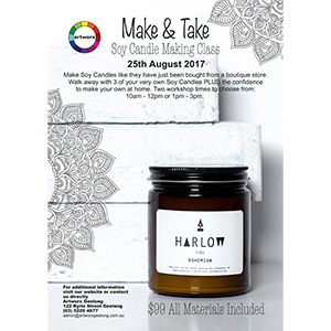 Friday 25th August 1pm - 3pm Candle Making Class