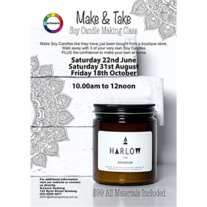 Saturday 22nd June 10am - 12noon Soy Candle Making Class - All Materials Included