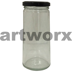 225ml Tall Jar with Black 58mm Cap