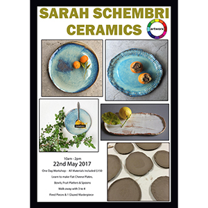 Ceramic Class Monday 22nd May 2017 with artist Sarah Schembri - All Artist Materials Included