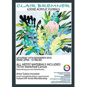 Acrylic Workshop Loose Impressionist Flowers with artist Clair Bremner 17th March - Artist Quality Materials Included