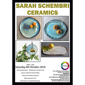 Saturday 6th October 2018 Ceramic Workshop all Artist Materials Included