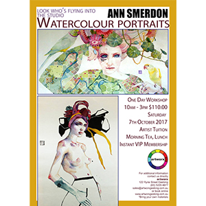 One Day Watercolour Portraits Workshop Saturday 7th October 2017