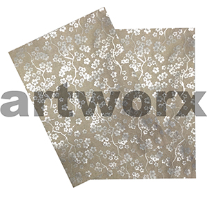 Silver Sakura Foil Embossed on Mink A4 Paper