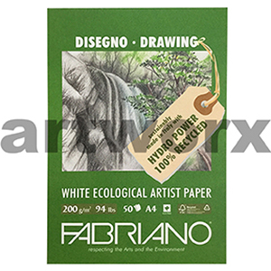 200gsm A4 50 Sheet 100% Recycled White Sketching Pad