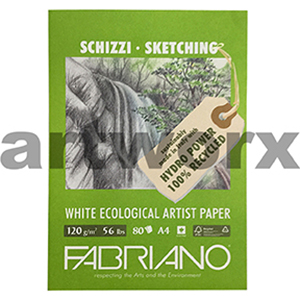 120gsm A4 80 Sheet 100% Recycled White Fabriano Sketching Pad