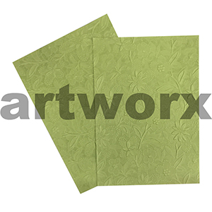 Matte Lime Bloom A4 Embossed Paper