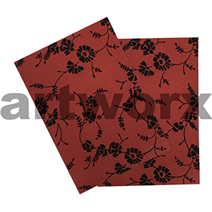 Red Linen with Black Flowers A4 Flocked Paper