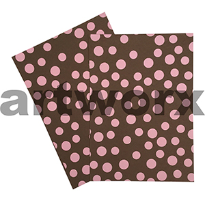 Brown Linen with Pink Dots A4 Embossed Paper
