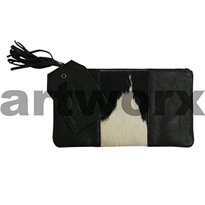 AMA Leather Pencil Case Half Hide Style Fresian Black with Plait