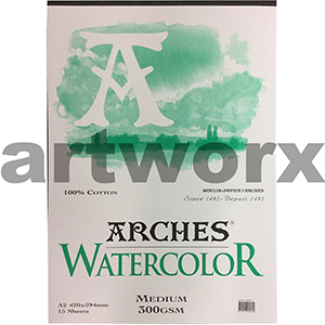 300gsm A2 12 Sheet Cold Press Arches Pad