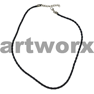 Black Leather Necklace with Clasp