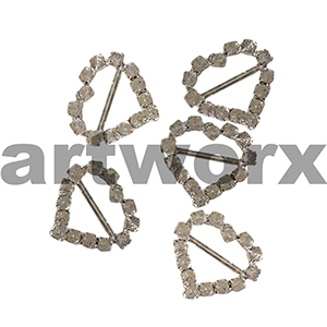 5pc K201B Metal Heart Diamante Buckle Horizontal Bar