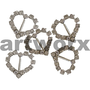 2pc K201B Metal Heart Diamante Buckle