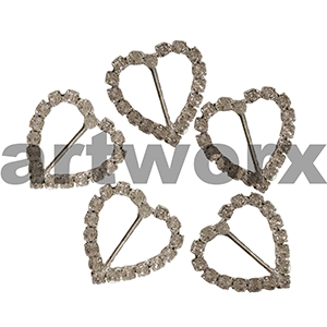 2pc K202BHO Metal Heart Diamante Buckle Horizontal Bar