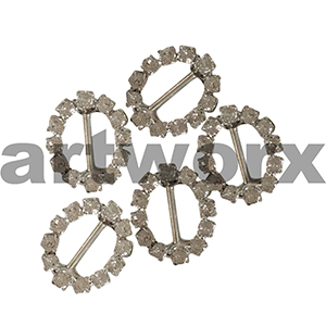 5pc K402B Oval Diamante Buckle