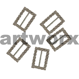 5pk K304B Rectangle Diamante Buckle