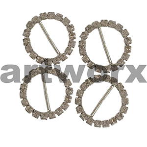 5pk K191B Round Diamante Buckle
