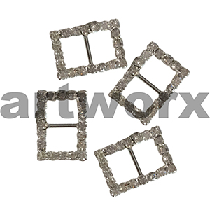 4pk Rectangle Diamante Buckle Vertical Bar