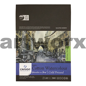 300gsm A3 12 Sheet Cold Press Canson Cotton Watercolour Drawing Pad