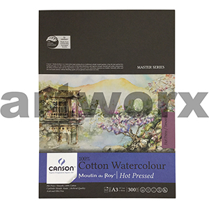300gsm A3 12 Sheet Hot Press Canson Cotton Watercolour Drawing Pad