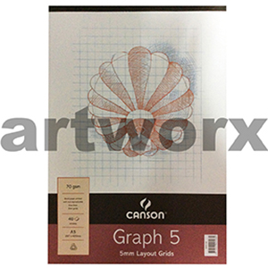 70gsm 5mm A3 40 Sheets Canson Graph Pad