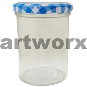 330ml Blue Checkered Jam Jar